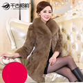 2017 New arrival autumn and witner fur coat outerwear women elegant natural rabbit fur jacket with real fox collar free shipping