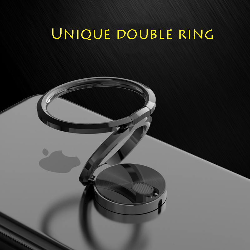 Universal Finger Ring Holder Double Phone Ring Stand 360 Rotatable Phone Grip Holder Metal Electroplated Stand For IPhone Huawei