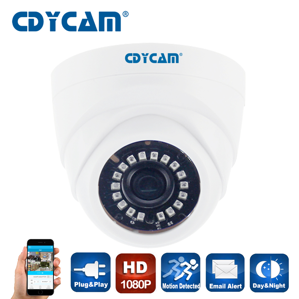 CDYCAM HD 2.0MP 1080P security Surveillance CCTV IP Camera Dome POE IR night vison ONVIF network Camera 3.6mm lens plastic shell 4pcs lot 960p indoor night version ir dome camera 4 in1 camera 3 6mm lens p2p onvif abs plastic housing