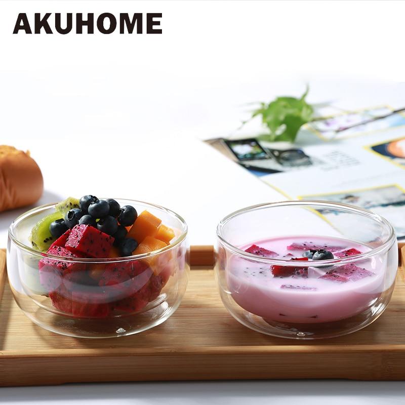 1 Pcs Double Layer Transparent Glass Bowl Ice Cream Heatproof Salad Dinnerware