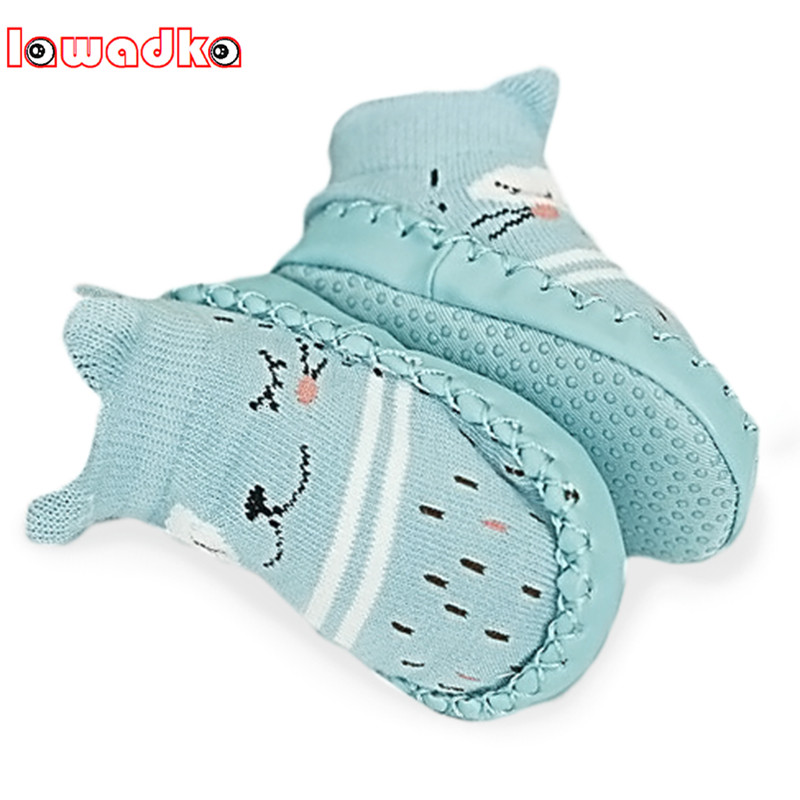 Lawadka Infant Baby Socks With Rubber Soles Floor Winter Baby Socks Boy Girls Anti Slip Leather Children Floor Socks Shoes