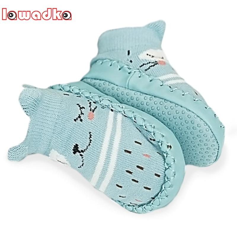 Lawadka Infant Baby Socks With Rubber Soles Floor Winter Baby Socks Boy Girls Anti Slip Leather Children Floor Socks Shoes