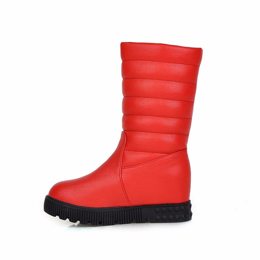 Winter Warm Boots Flat With Women Mid Calf Snow Boots Woman Short Boots High Quality Plus Size 34-40.41.42.43 Botas botte