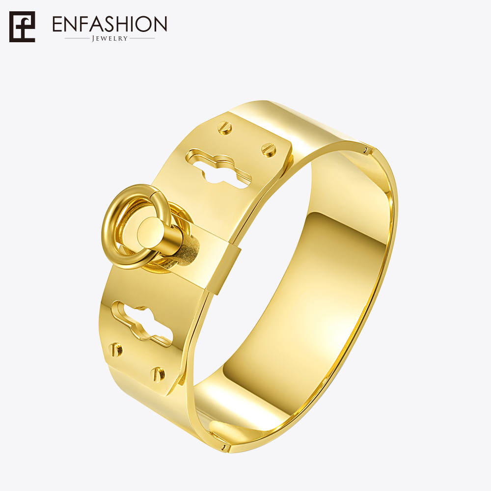 Enfashion Jewelry Circle Ring Wide Cuff Bracelet Noeud armband Gold color Bangle Bracelet For Women Bracelets Manchette Bangles