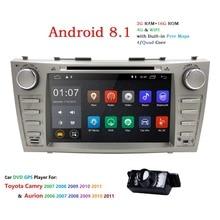 Новый! 2DIN 8 дюймов Android8.1 CarDVD Стерео gps для TOYOTA Camry 2007-2011 Aurion 2006-2011 сенсорный экран 1024*600 + wifi + BT + RDS + камера