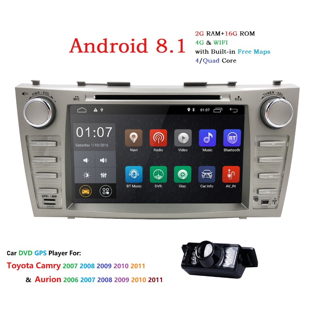 NEW!2DIN 8inch Android8.1 CarDVD Stereo GPS For TOYOTA Camry 2007-2011 Aurion 2006-2011 Touch screen 1024*600+wifi+BT+RDS+Camera