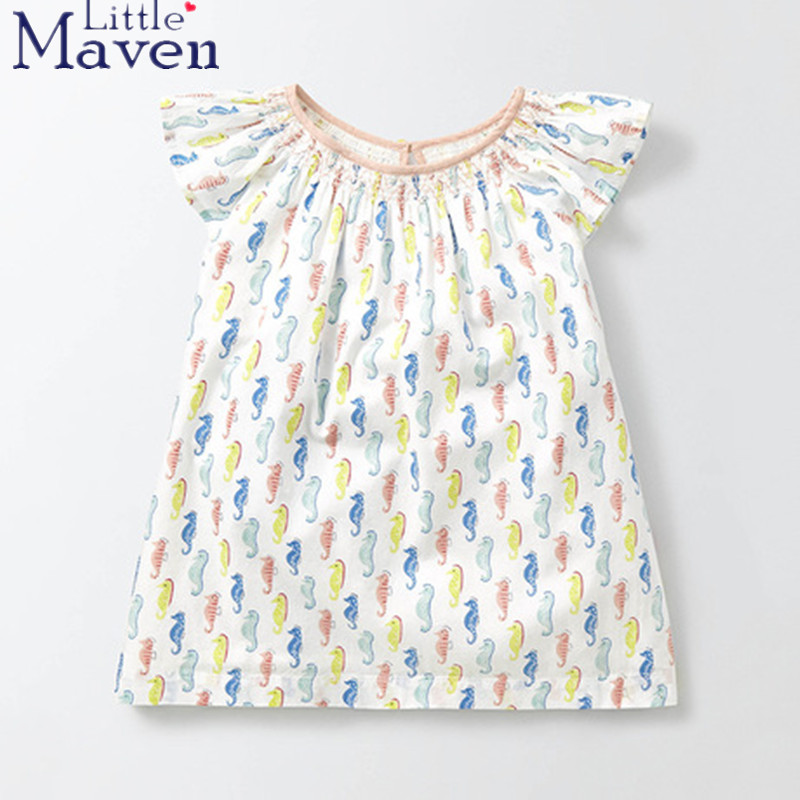 100% Little Maven latest 2018 new summer baby girls clothes short sleeve O-neck t shirt pure Cotton Sea horse print  tee tops
