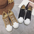 2017 Spring Women's Shoes Shell Head Round Head Flats Shoes Woman Lace-up Casual Comfortable Fisherman Women's Loafers