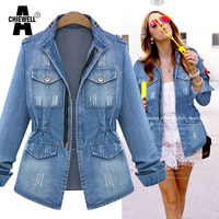 LIENZY American Apparel Plus Size 5XL Autumn Women Denim Jacket Waist Ripped Washed Light Blue Vintage