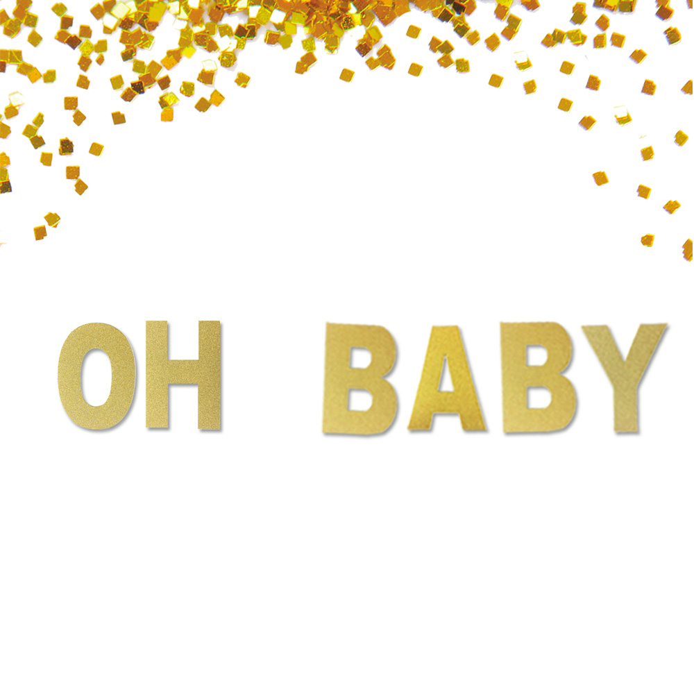 Oh Baby Glitter Gold Banner For Baby Shower Decoration, Gold Baby Shower Decor, Pregnancy Banner, Baby Announcement