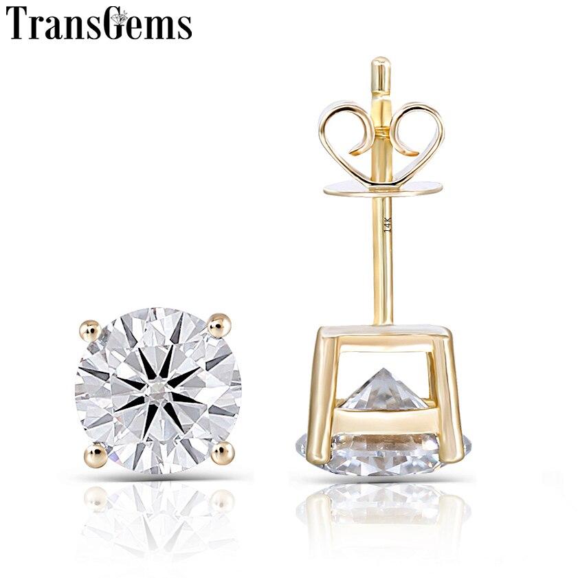 Transgems 14K 585 Yellow Gold 2CTW 6.5MM F Color Moissanite Stud Earrings for Women Classic Shiny Gemstone Earrings Push Back