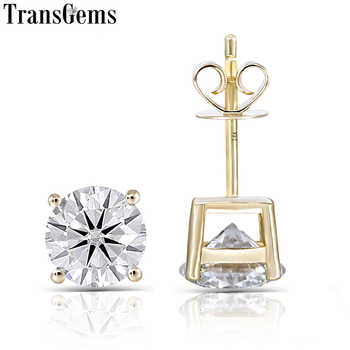 Transgems 14K 585 Yellow Gold 2CTW 6.5MM F Color Moissanite Stud Earrings for Women Classic Shiny Gemstone Earrings Push Back - DISCOUNT ITEM  5% OFF All Category