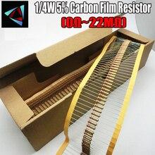 Resistor de película de carbono 5000 Uds. 1/4W 0,25 W, 0R ~ 22M 100R 220R 330R 1K 5% K 2,2 K 3,3 K 10K 22K 47K 4,7 K 100 10M 18M 20M 22Mohm