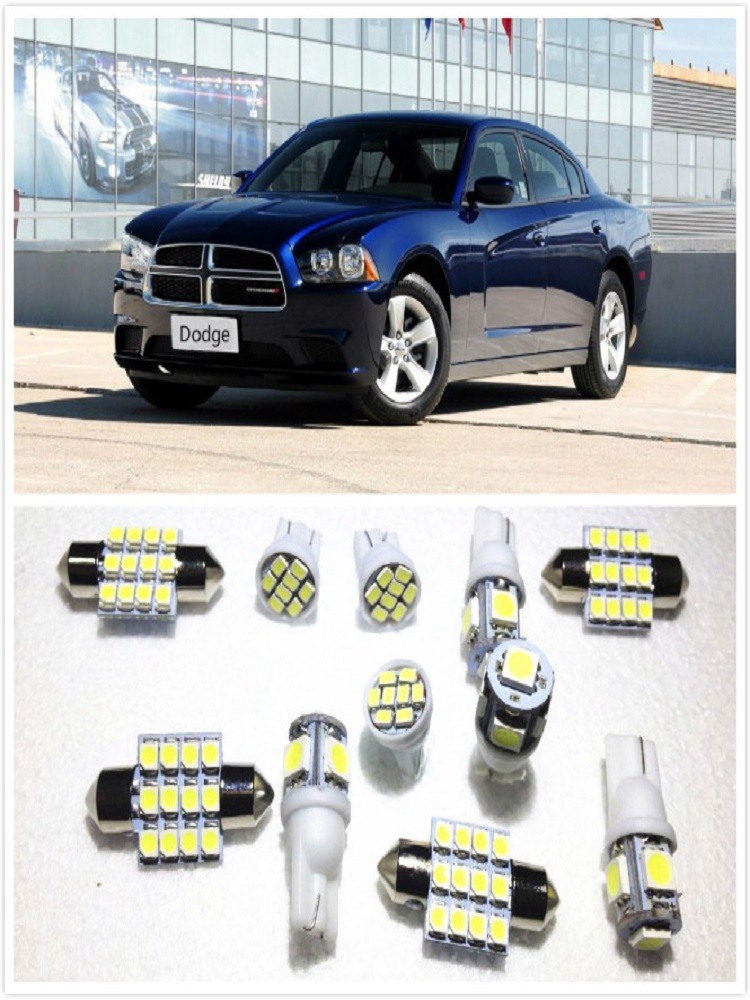 11 set White LED Lights Interior Package 10 & 31mm Map Dome For <font><b>Dodge</b></font> <font><b>Charger</b></font> Journey Avenger Caliber <font><b>2006</b></font>-2017 image