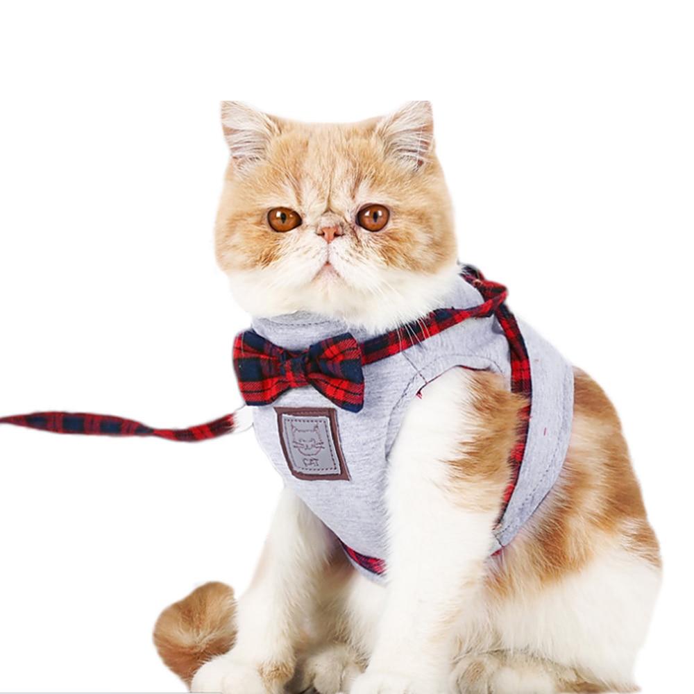 Outdoor Cats Vest Harness Leash Set Comfortable Soft Jacket Vest With Grid Strap Lead Tr ...