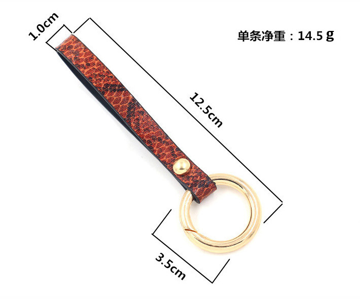 LEADERBEADS 2019 Trendy Simple Snake Skin PU Leather 3 5 cm Gold Alloy Ring Keychain Women 39 s Fashion Key Holder Birthday Gift in Key Chains from Jewelry amp Accessories