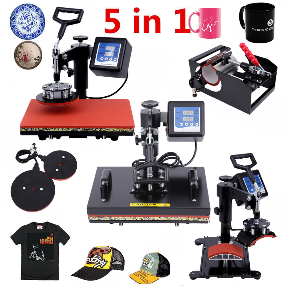 (Ship from Germany) 5 in 1 Heat Press Machine Swing Away Transfer T-Shirt Sublimation Mug Hat Plate 1pc 6in1 30 38cm t shirt swing away heat press machine shaking head heat transfer sublimation machine