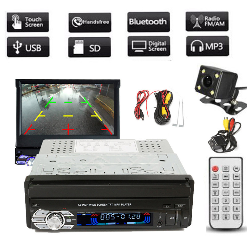Universal 1DIN 7 Inch HD Touch Screen Car Stereo MP3/MP5 FM Bluetooth Player With Rear View Camera And Cable 7 touch screen car mp5 player 2 din bluetooth 1080p fm usb gps navigation with rear view camera remote control up to 32g