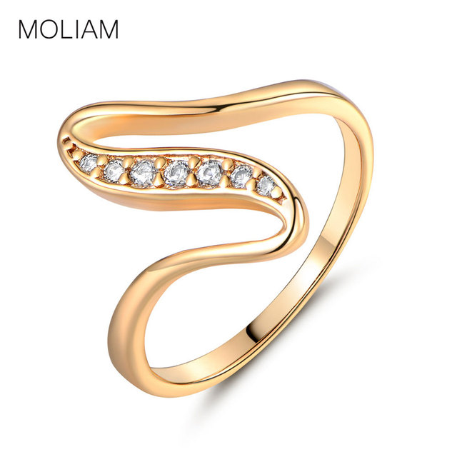 MOLIAM Fashion Charming Rings Jewelry Gift Gold-Color White Crystal Cubic Zirconia Engagement Ring for Women MLR103/MLR116