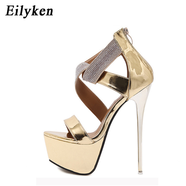8f2869ee2537 Eilyken Women Sandals Platform Pumps 16CM Ladies Dress shoes Sexy Heels  Ankle-Wrap Heels shoes Crystal Glitter Women Sandals