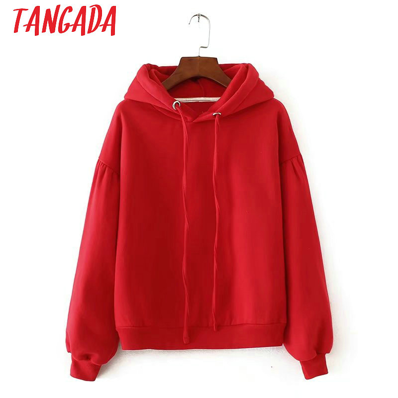 Tangada Winter Japanese Fashion  Women Fleece Oversized Hoodie Sweatshirts Red Hooded Jacket Ladies Pullovers For Female SD5