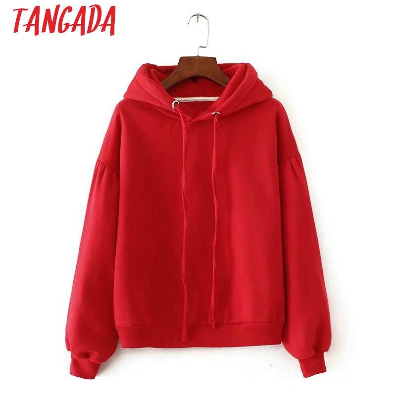 Tangada Winter Japanese Fashion  Women Fleece Oversized Hoodie Sweatshirts Red Hooded Jacket Ladies Pullovers For Female SD5