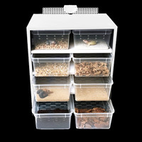 White 8 Box Acrylic Feeding Box Terrariums Reptile Breeding Tank Insect Spiders Tortoise Cage Lizard House Reptiles Accessories