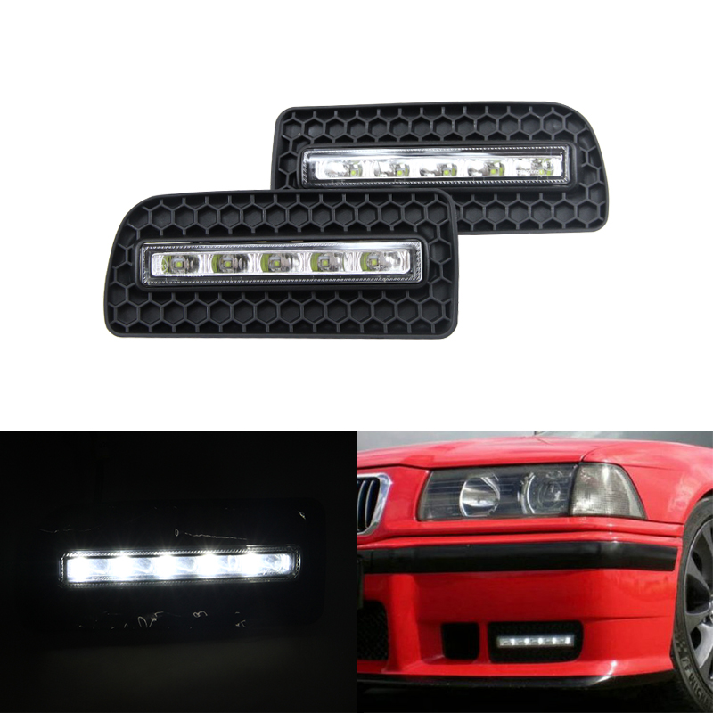 Waterproof Dimmable Led Daytime Running Lights For Bmw E36 M3 91-98 Driving Front Bumper Daylights DRL Fog Lamp Xenon White brand new set led drl daytime running daylights for bmw f25 x3 2010 2014 front driving bumper fog lights dimmable drl lamp