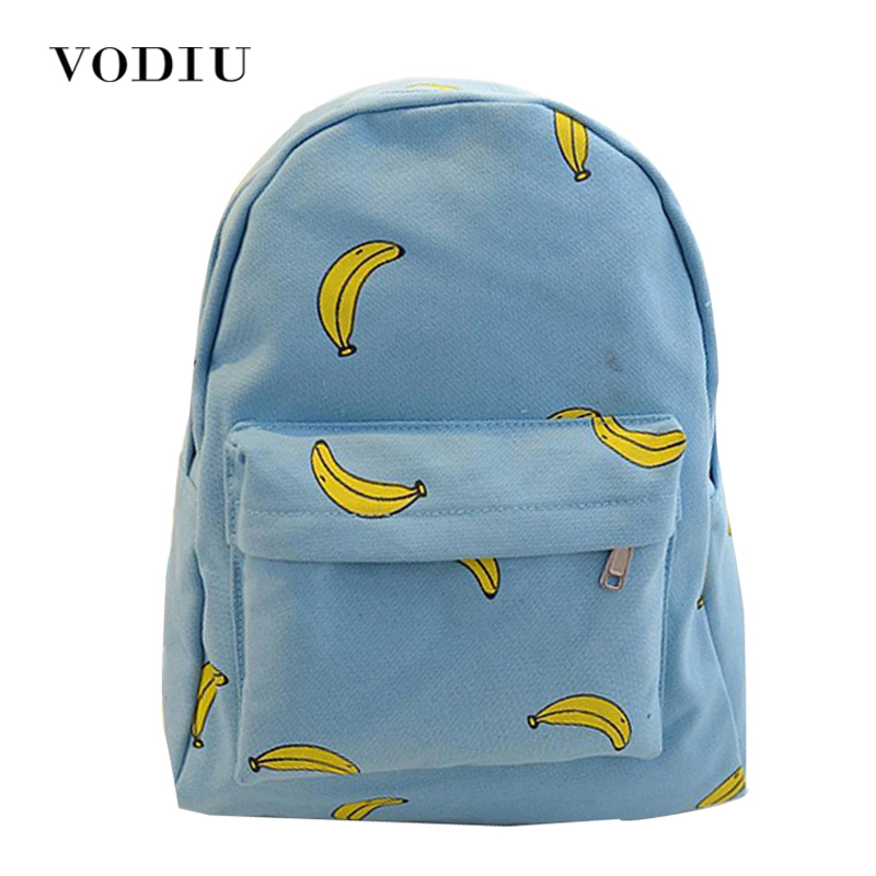 Cute Girl Banana Pattern Printing Women Backpacks Traveling Blue Candy Color School Bags Unique Fashion Canvas Backpack Female feral cat square fashion women pvc backpack traveling shipping bags school girl female backpack free shipping