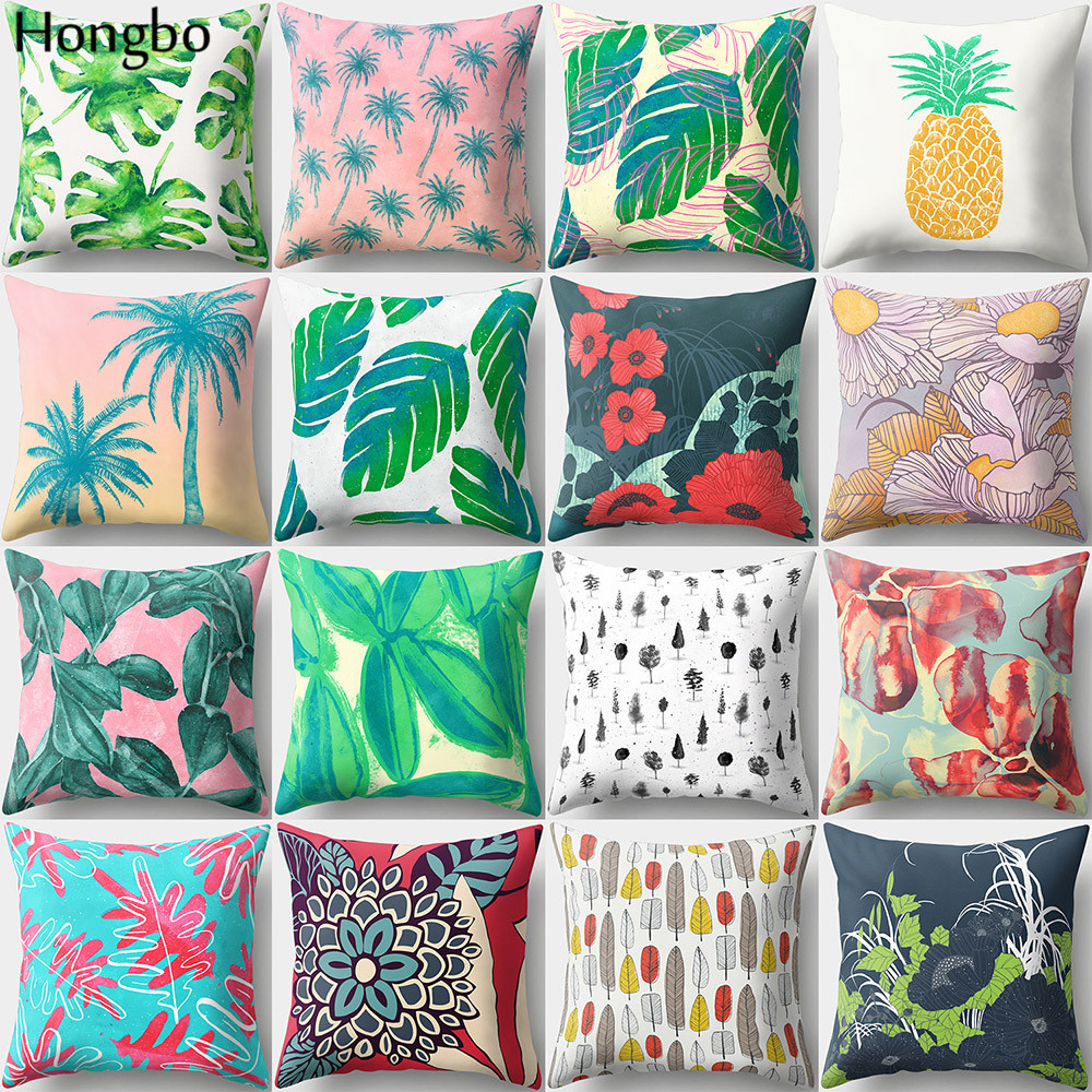 Hongbo 1 Pcs Tropical Rain Forest Green Leaves pineapple Coconut Peach Skin Pillow Case Sofa Cushion Cover Decorative