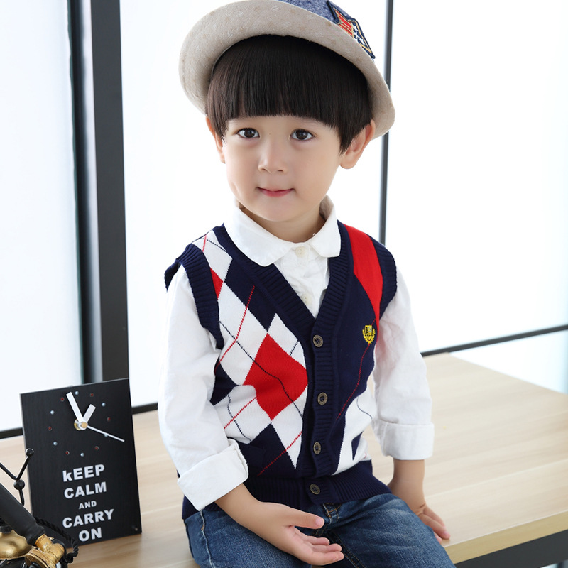 2017 New Design Boys Vest Cardigan Sweater Brand Preppy Style Boys Autumn Knitted Wool Vest Coat Boys Casual Cotton Sweater,C129