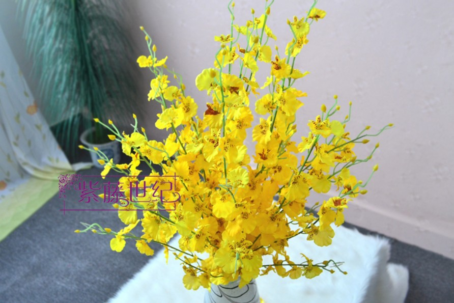 10 pcslot artificial yellow oncidium moth orchid silk flowers home 10 pcslot artificial yellow oncidium moth orchid silk flowers home decoration in artificial dried flowers from home garden on aliexpress mightylinksfo Gallery