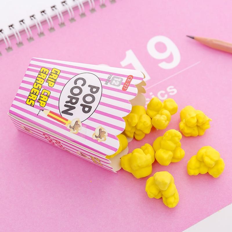 Creative Popcorn Eraser School Supplies Cute Children Stationery Kawaii Rubber Eraser Correction Tool Supplies Kids Gift Set