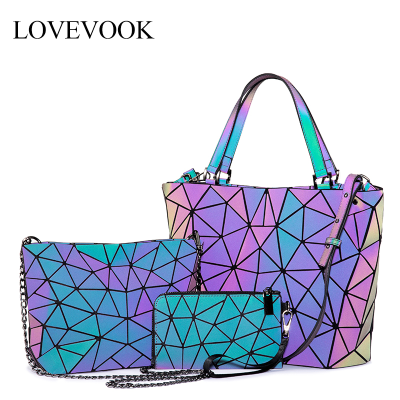 Lovevook Women Handbags 3 Pcs Bag Set Crossbody Bags For Women 2019 Geometric Luminous Shoulder Bag Female Purse And Wallet Tote