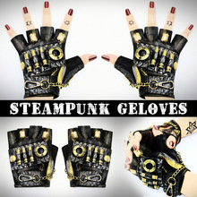 Leather Gloves Steampunk half finger Sobretudo Feminino Luva Feminina Fingerless Lady Summer Glove