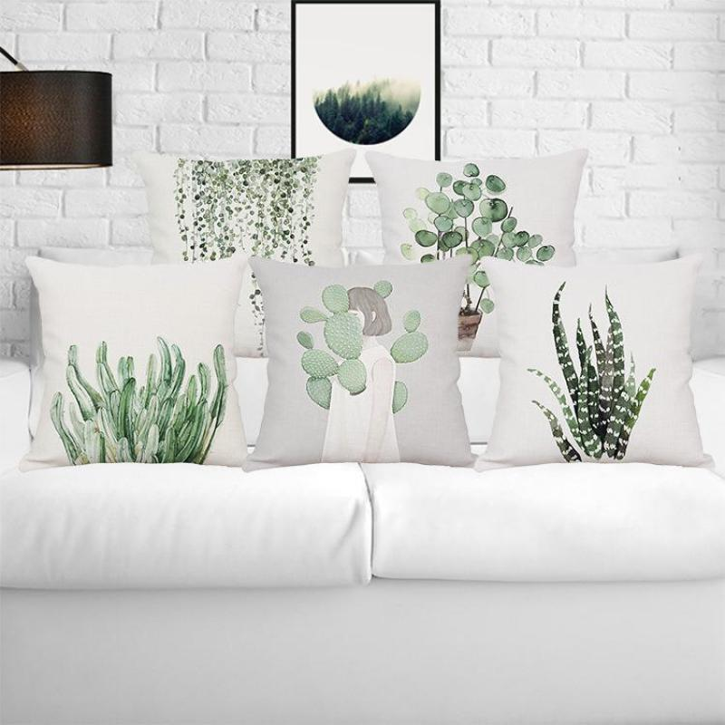 Nordic Style Decoration Forest Pillow Water Color Plant Flower Garden Pot Artificial Leaves Leaf Cushion Almofada Decorativa