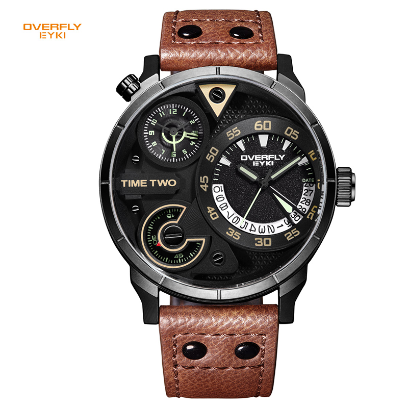 EYKI Brand Men's Military Sport Watches Men Genuine Leather Watches Waterproof Hour Date Quartz Wristwatch Clock montre homme high quality luxury brand men sports waterproof watches quartz hour clock men leather strap montre homme with auto date