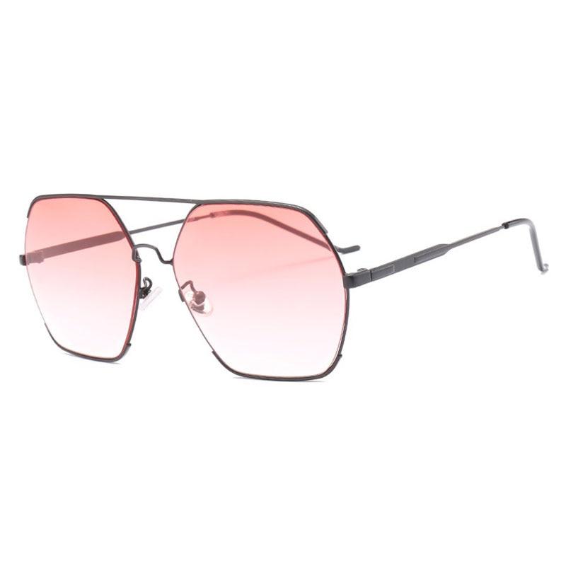 Sereseng oversized sunglasses women metal sunglass lady hexagon sun glasses for women pink super light driving glasses 18064DF