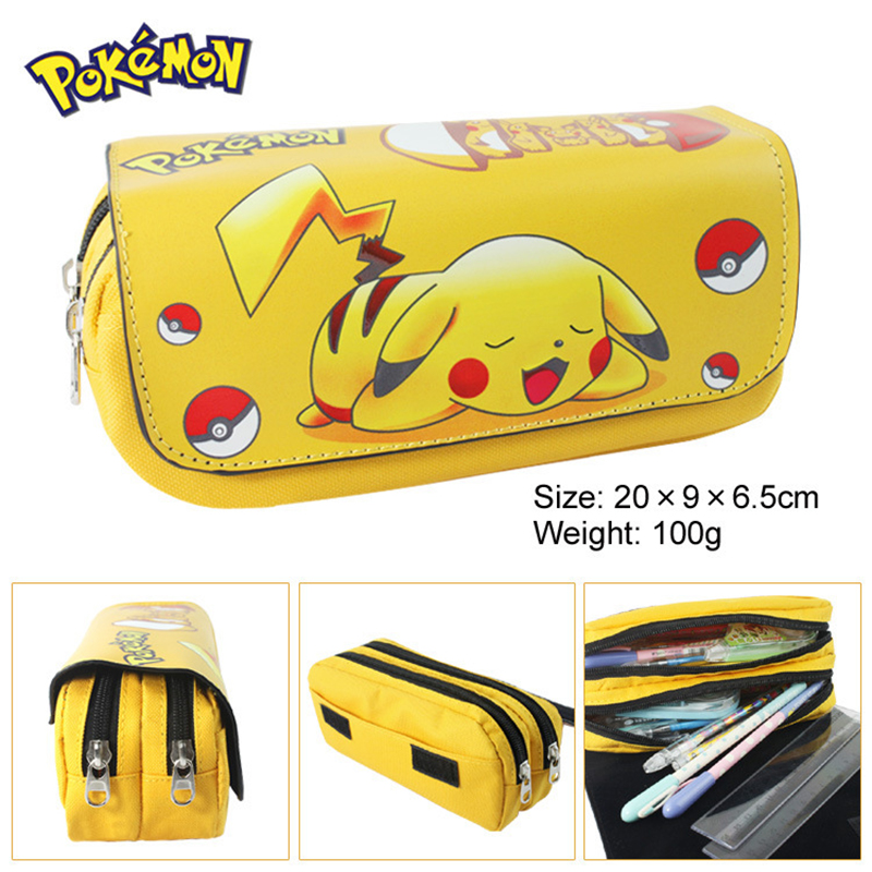 1Pcs PU Pokemon Go Pikachu Pencils Case Zipper School Supplies Bts Stationery Gift Estuches School Pencil Bags