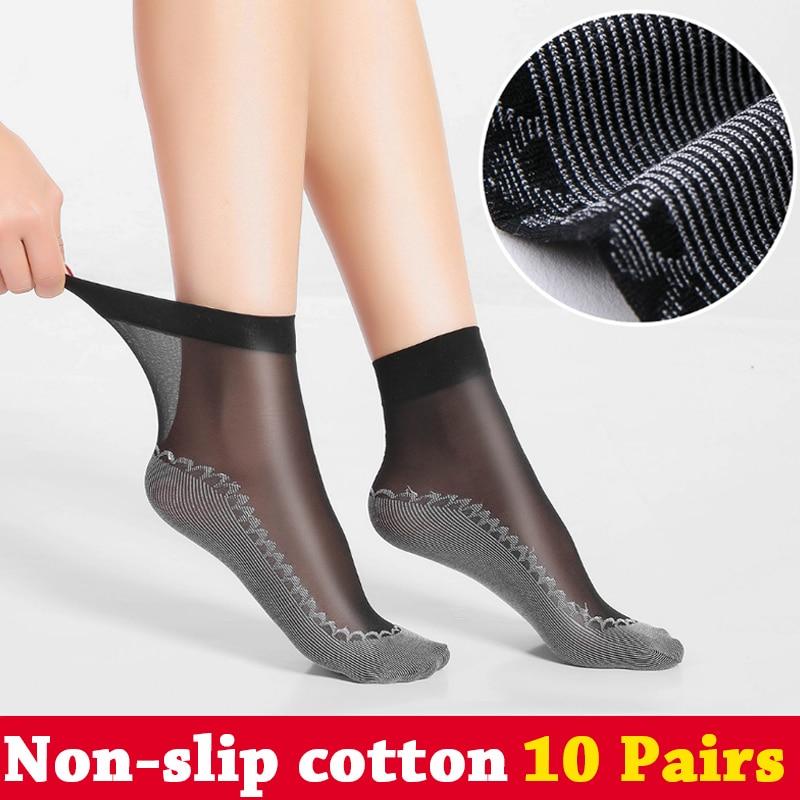 10 par de las mujeres calcetines de seda del verano de algodón del - Ropa de mujer