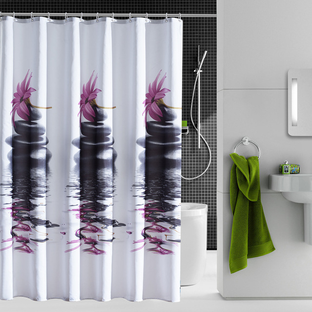 Waterproof Purple Stone Polyester Shower Curtain Bathroom Curtains Unique Free Shipping
