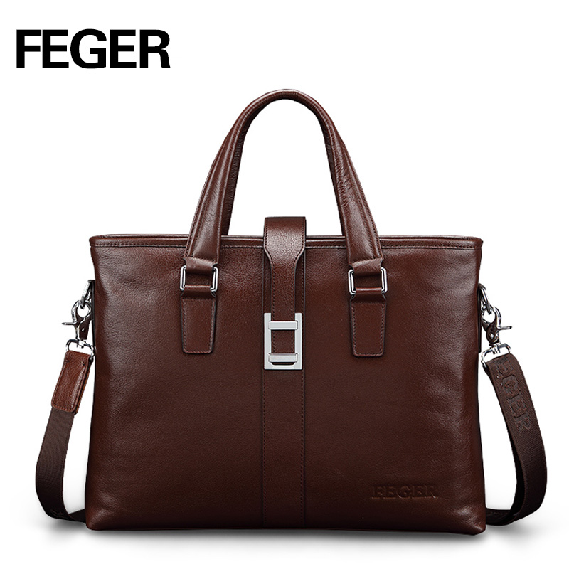 ФОТО FEGER New Fashion Split Leather Men's Handbag Brown Business Briefcase Bag Men's Messenger Handbag Free Shipping