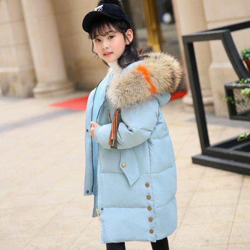 Модные зимние Пуховые парки для девочек, куртки с цветным мехом для девочек-подростков, теплые утепленные пуховики на утином пуху, верхняя о...