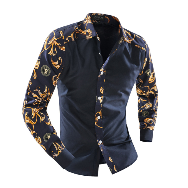 Осень с длинным рукавом свободного покроя мужчины рубашка цветочные синий и белый фарфор печать пэчворк уникальный дизайн человек мода рубашка XE007629