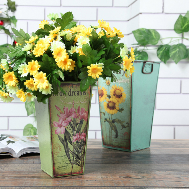 Sunflower Square Tin Bucket Pastoral Style Wrought Iron flower ...