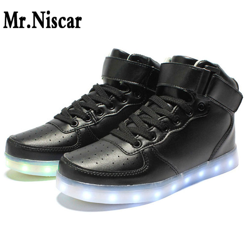 Men Fashion High Top Light Up LED Shoes USB Charger Glowing Sneakers Adults Unisex Luminous Superstar Shoes Chaussure Homme 8 color led luminous shoes unisex glow shoe men women fashion lover tide leather recharge usb light shoes