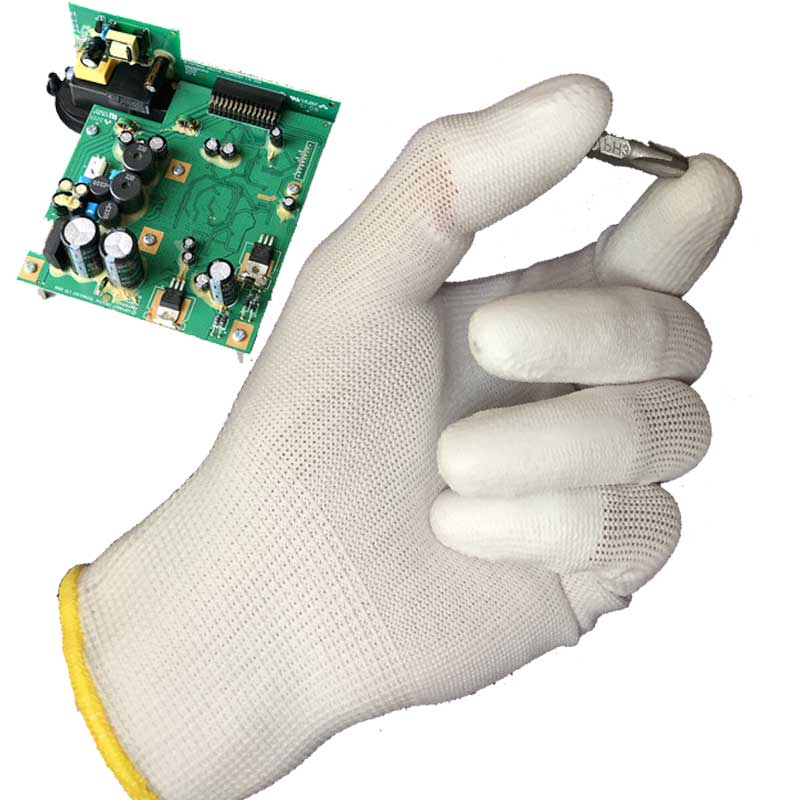 NMSAFETY 13 Gauge Knitted White Nylon Dipped PU Finger ESD Electrician Work Gloves oil free comfortable cheap nitrile gloves white nylon knitted hands protection gloves white mechanic construction industry