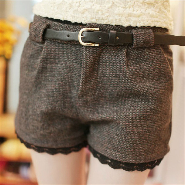 Plaid Women Shorts 2016 Autumn Winter Fashion Black Coffee Ploy Wool Shorts Women Plus Size Sexy Mid Waist Shorts