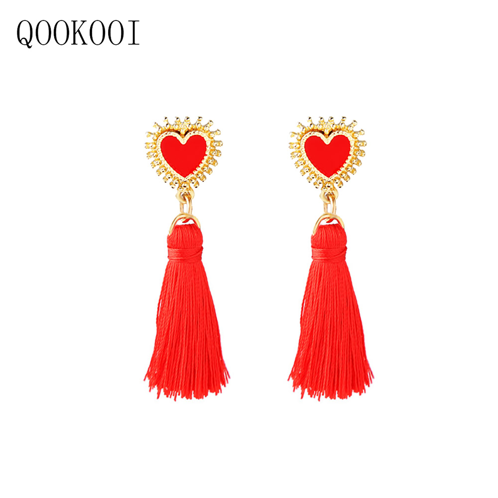 QOOKOO I 2018 Bohemia Long Earings Fashion Jewelry  Big Heart AAA Zircon Golden Earrings Vintage Tassel Women's Earrings