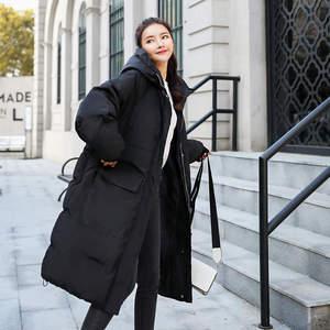 Image 3 - 다운 코튼 겨울 자켓 여성 chaqueta mujer bf 스타일 후드 두꺼운 롱 코트 따뜻한 파카 여성 자켓 코튼 여성 코트 c5074